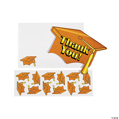 "Orange Graduation ""Thank You"" Cards"