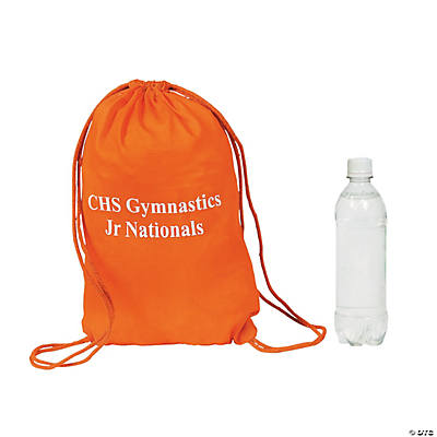 Orange Personalized Drawstring Backpacks