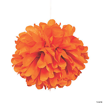 Orange Pom-Pom Tissue Decorations