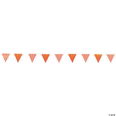 Orange Striped & Polka Dot Pennant Banner