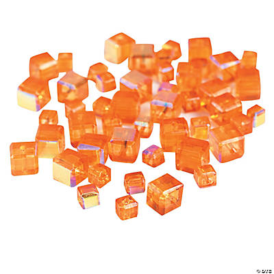 Orange Sunset Cube AB Cut Crystal Beads - 4mm-6mm