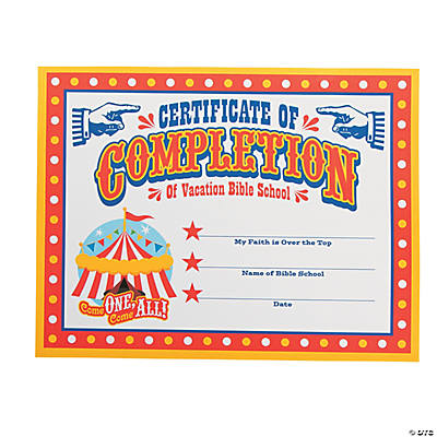 """Over the Top"" Certificates of Completion"