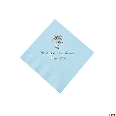 Palm Tree Light Blue Personalized Beverage Napkins with Silver Print