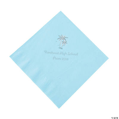 Palm Tree Light Blue Personalized Luncheon Napkins with Silver Print