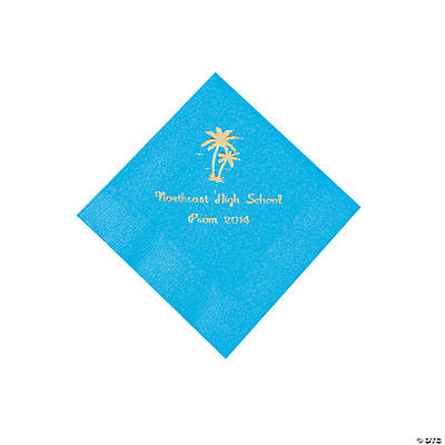 Palm Tree Turquoise Personalized Beverage Napkins with Gold Print