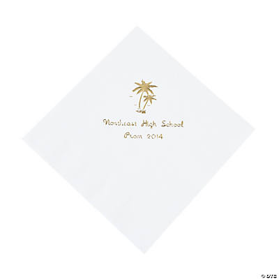 Palm Tree White Personalized Lunch Napkins with Gold Print
