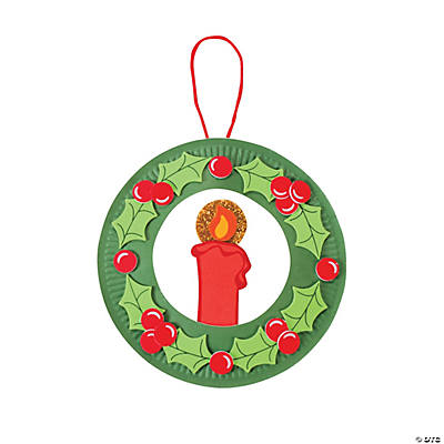 Paper Plate Christmas Candle Wreath Craft Kit