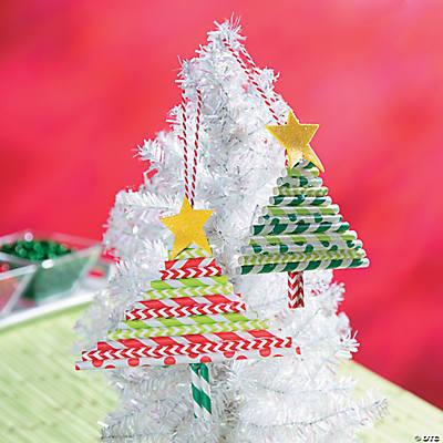 Straw Christmas Tree Ornament Idea