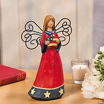 Patriotic Angel with Metal Wings