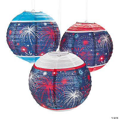 Patriotic Burst Hanging Paper Lanterns