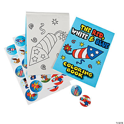 Patriotic Coloring Books with Stickers