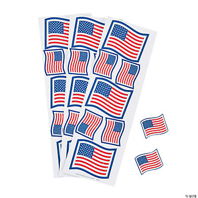 Patriotic Glitter Flag Stickers