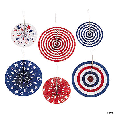 Patriotic hanging fans for American flag decoration ideas
