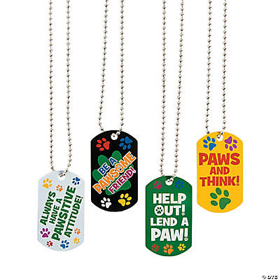 Pawsitive Character Dog Tag Chain Necklaces