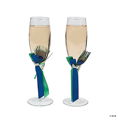 Peacock Champagne Flutes