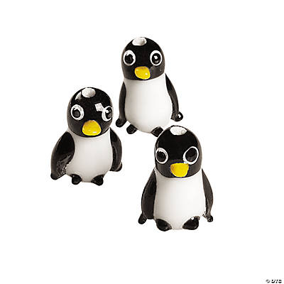 Penguin Lampwork Glass Beads - 11mm x 17mm