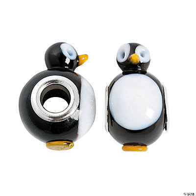 Penguin Lampwork Large Hole Beads - 18mm