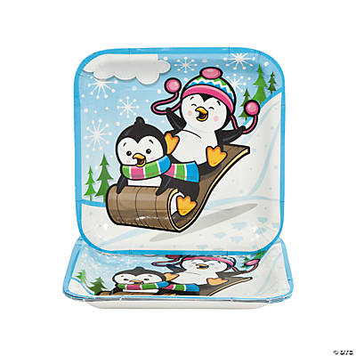 Penguin Party Square Paper Dinner Plates