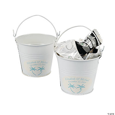 Personalized Beach Theme White Pails