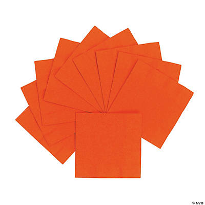Personalized Beverage Napkins - Orange with Silver Print