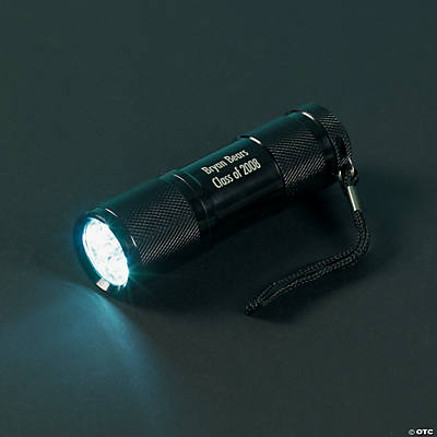 Personalized Black Aluminum LED Flashlight