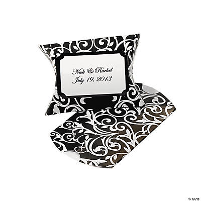 Personalized Black & White Favor Pillow Boxes