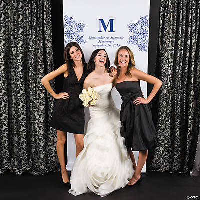 Personalized Blue Monogram Photo Booth Backdrop