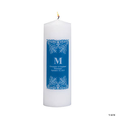 Personalized Blue Monogram Pillar Candles