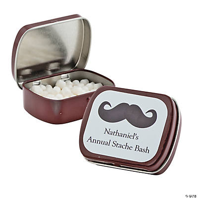 Personalized Burgundy Mustache Mint Tins