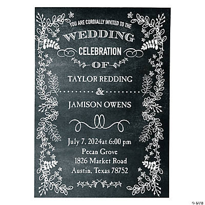 Personalized Chalkboard Floral Wedding Invitations