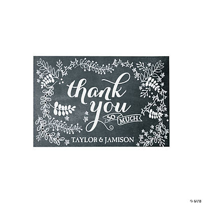 Personalized Chalkboard Floral Wedding Thank You Cards