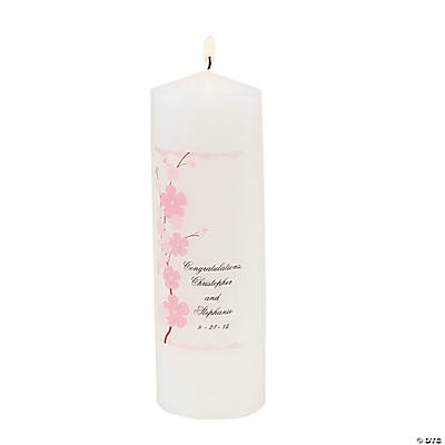 Personalized Cherry Blossom Pillar Candle