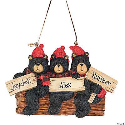 Personalized Christmas Ornament - Three Black Bears