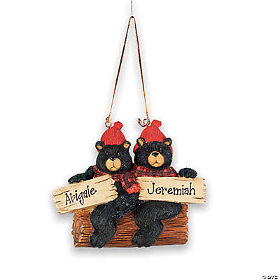 Personalized Christmas Ornament - Two Black Bears