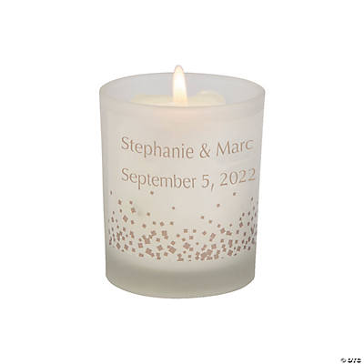 Personalized Confetti Dots Wedding Votive Candle Holders