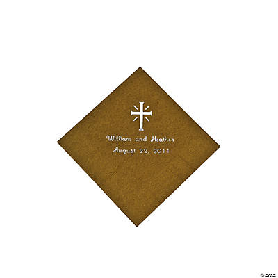 Personalized Cross Gold Beverage Napkins