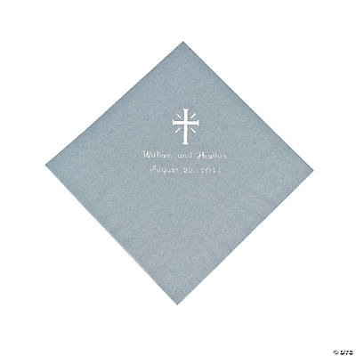 Personalized Cross Silver Luncheon Napkins
