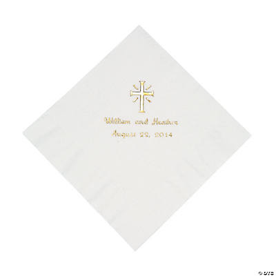 Personalized Cross White Luncheon Napkins