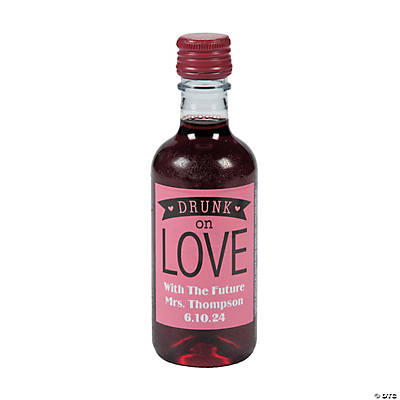 Personalized Drunk on Love Mini Wine Bottle Labels