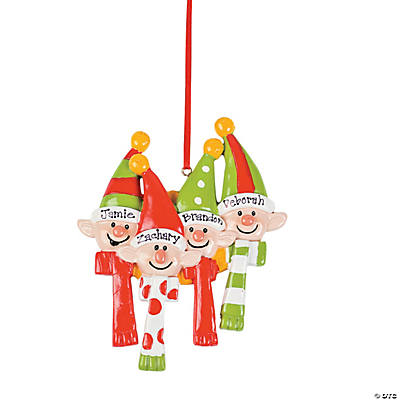 Personalized Elves Ornament - Four Elves