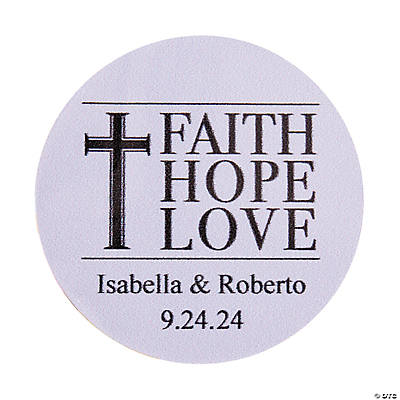 Personalized Faith, Hope, Love Wedding Favor Stickers