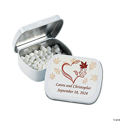 Personalized Fall Wedding Tins With Mints