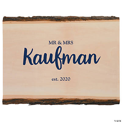 Personalized Family Name Basswood Plank with Bark