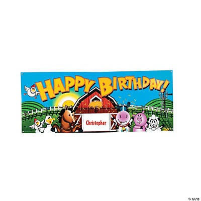 Personalized Farm Party Birthday Banner - Small