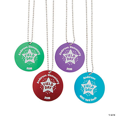 Personalized Field Day Dog Tag Necklaces