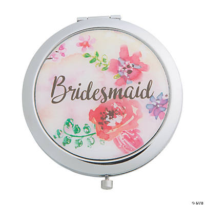 Personalized Floral Bridesmaid Compact Mirror