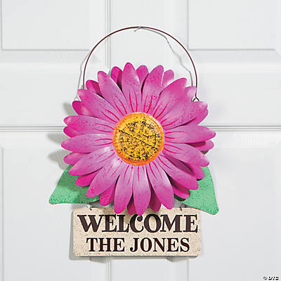Personalized Gerbera Daisy Door Sign