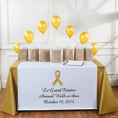 Personalized Gold Awareness Ribbon Table Runner