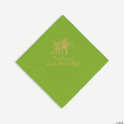 Personalized Gold Champagne Luncheon Napkins - Lime Green