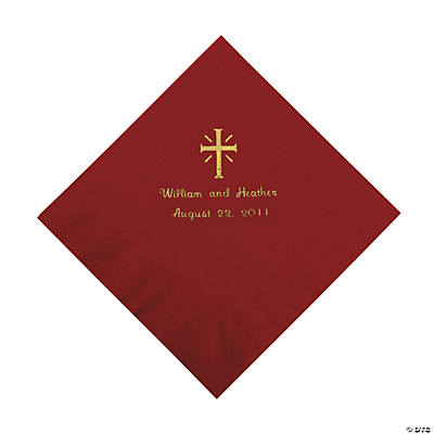 Personalized Gold Cross Beverage Napkins - Burgundy